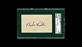 Babe Ruth 1930's JSA slabbed authentic cut signature