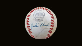 Jackie Robinson single signed baseball (JSA LOA)