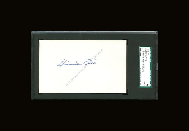 Jimmie Foxx signed index card SGC/JSA Slabbed